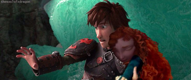 merida fell into hiccups arms as astrid ran away with
