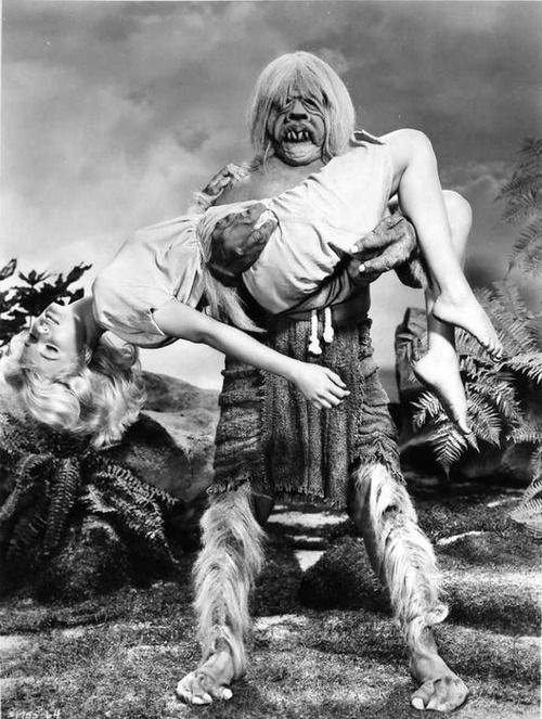 Yvette Mimieux and one of the Morlocks in The Time Machine (1960)