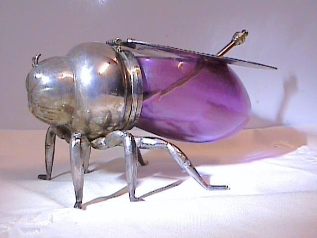 ANTIQUE VICTORIAN CRANBERRY GLASS SILVER PLATE BEE HONEY POT + SPOON
