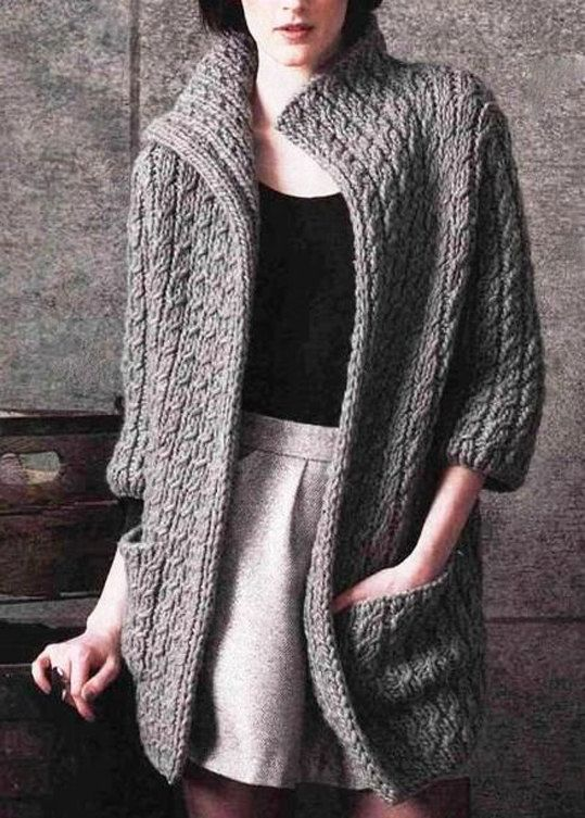 Hand Knit sweater mohair custom made coat aran women's jacket women hand…
