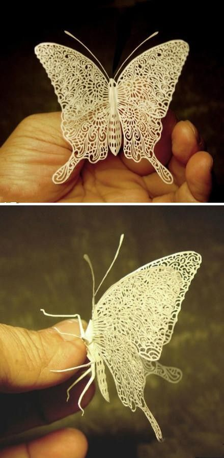 Ultra-fine paper cutting butterfly