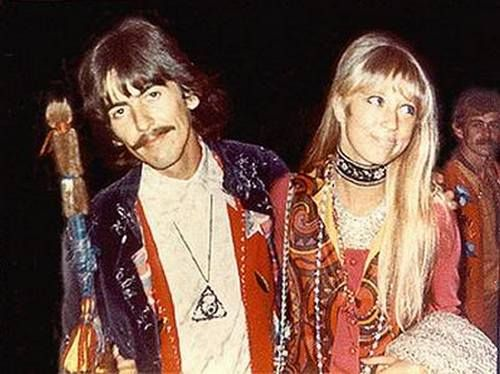 George Harrison and Pattie Boyd in India.