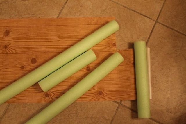 Make fake logs out of pool noodles and wood grained contact paper for lumberjack and jill themed games.