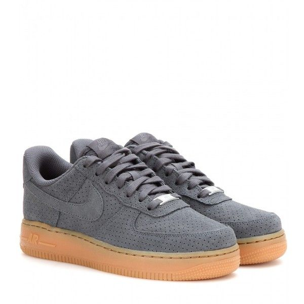 Nike Nike Air Force 1 Suede Sneakers ($130) ❤ liked on Polyvore featuring shoes, sneakers, grey, grey sneakers, nike, nike footwear, grey suede shoes and gray suede shoes