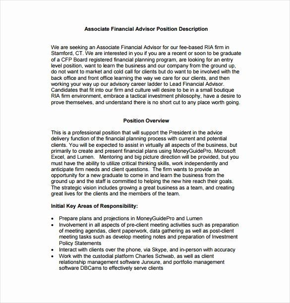 Financial Aid Advisor Resume Fresh 7 Financial Advisor Job Description Templates Free Job Description Template Good Resume Examples Financial Advisors