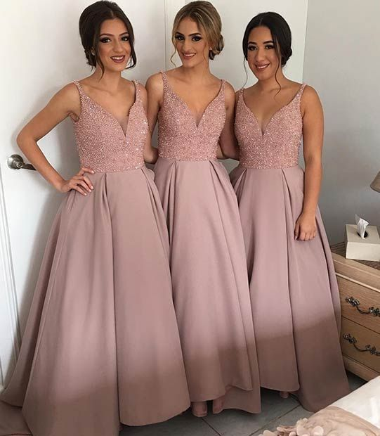 Plus Size Bridesmaid Dresses 2016 Blush Deep V Neck Wedding Guest Gowns Crystal Beaded A Line Satin Floor Length Prom Dress