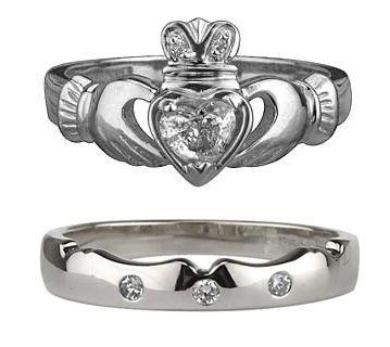 18k White Gold Claddagh Diamond Wedding Set Mismosh Rings
