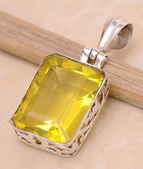 "Lemon Quartz .925 Sterling Silver Jewelry Pendant 1.4"" #silverjewelry"
