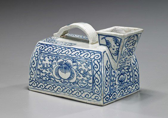 Antique Chinese Blue & White Porcelain Urinal