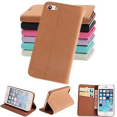 pashm cuero de la PU caso de cuerpo completo con soporte y tarjeta de la ranura para el iphone 5 / 5s (colores surtidos) – USD $ 5.99