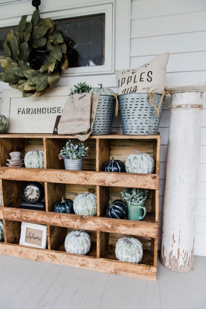 Love the idea of nesting boxes on the front porch, filled with seasonal treasures...or shoes. -- DIY Farmhouse Style Nesting Boxes: Liz Marie Blog.