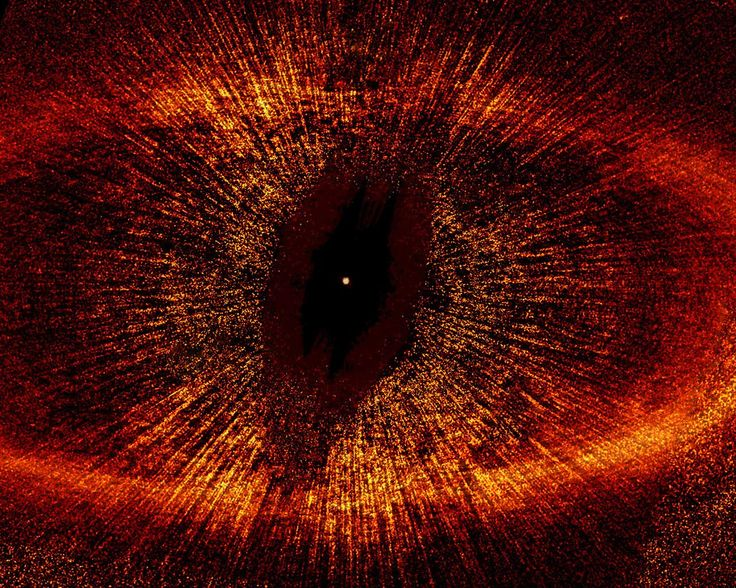 "THE EYE OF SAURON!!!! ""Taken by NASA's Hubble Space Telescope is the most detailed visible-light image ever taken of a narrow, dusty ring around the nearby star Fomalhaut (HD 216956). The image offers the strongest evidence yet that an unruly and unseen planet may be gravitationally tugging on the ring. The left part of the ring is outside the telescope's view. Hubble unequivocally shows that the centre of the ring is a whopping 1.4 billion miles (15 astronomical units) away from the star."""