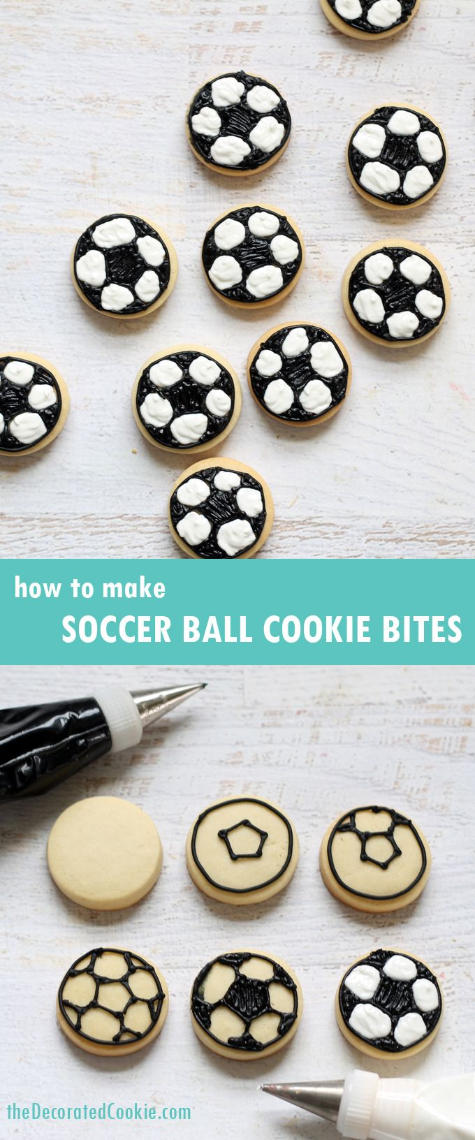 how to make soccer ball cookie bites ~ The Decorated Cookie