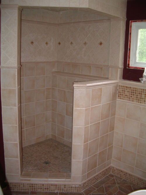 Ceramic tile installation shower construction ceramic floor tile and wall tile installation Install tile shower