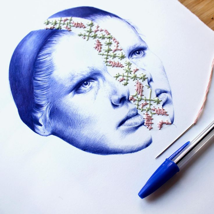 Surreal Drawings Created From Ballpoint Pen and Embroidery by Nuria Riaza