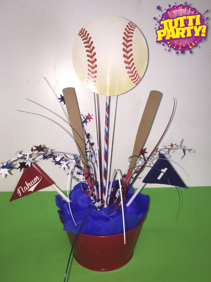 Baseball Party ideas, baseball centertable, beisbol decoracion para fiestas, fiesta de béisbol, centro de mesa béisbol. Www.tuttiparty.mx