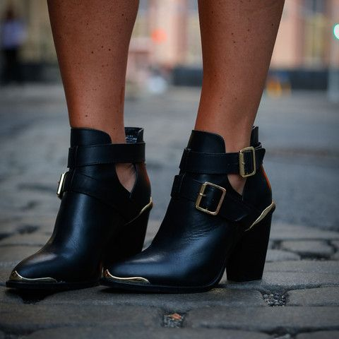 black leather metal buckle cut out chunky heel ankle Boots - black cut out ankle  boots, buckle cut out ankle boots