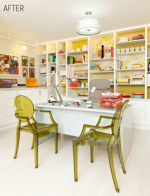 love the chairs, in bright yellow and fabric in the book cases!