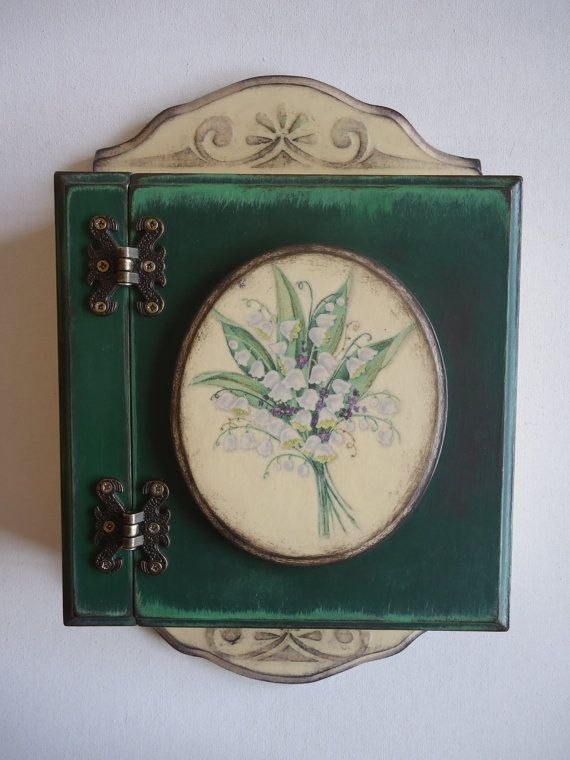 Vintage Key Box Wall Hanging MDF Key Cabinet  by VesDecoupage