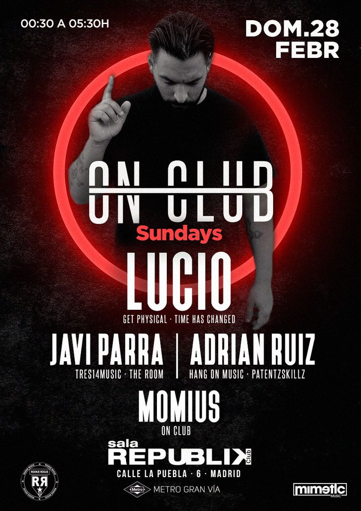 ON CLUB. POSTER Music Club Party | Djs House | Electro | Dance | Comercial | Madrid | Clubbing | Tech | Flyer | Music Poster | Club | Techno | LUCIO