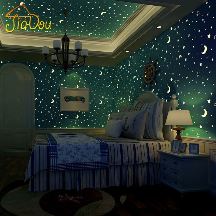 Non woven Luminous Wallpaper Roll Stars And The Moon Boys And Girls Children's Room Bedroom Ceiling Fluorescent Wallpaper Decor-in Wallpapers from Home Improvement on Aliexpress.com | Alibaba Group