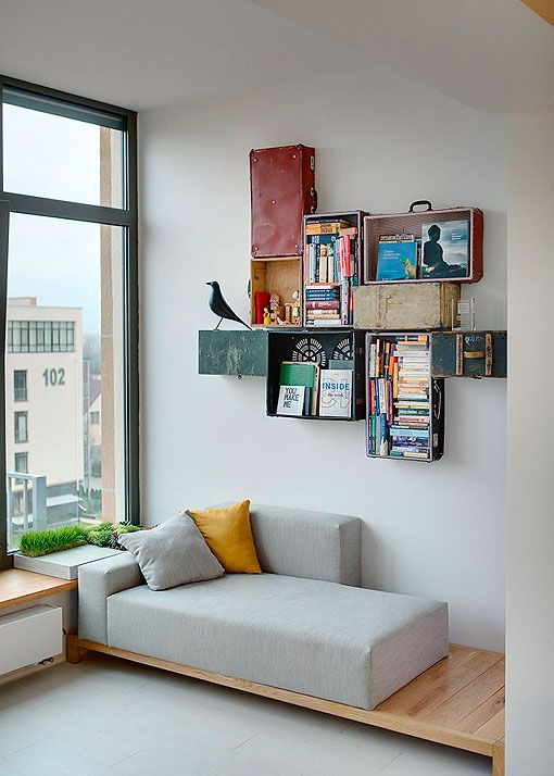 Ladrillo visto en interiores: rincón de lectura
