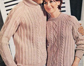 Womens knitting pattern womens aran sweater knitting by Hobohooks
