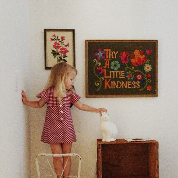 Try a little kindness crewel wall hanging... Melissa Squires Henson james / bleubird blog