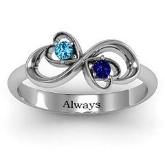 Infinity hearts birthstones