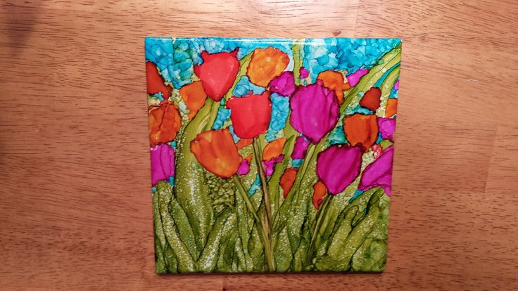 Tulips Painted On 6x6 Tile In Alcohol Ink Alcohol Ink