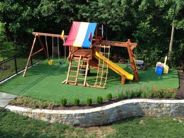 7 best Swing set on slope images on Pinterest   Backyard ... on Unlevel Backyard Ideas id=90149