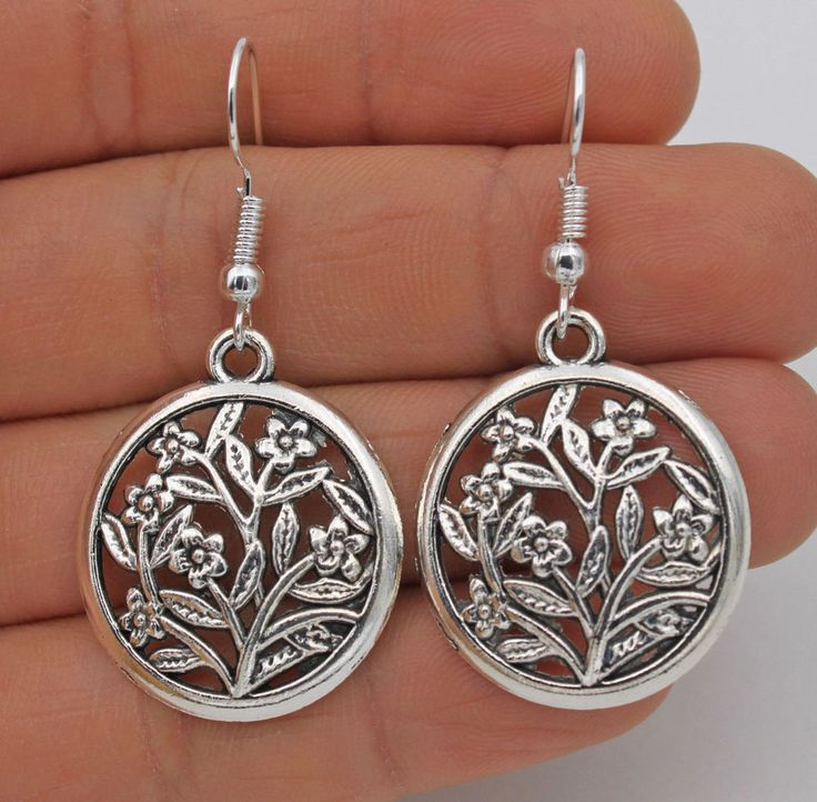 "925 Silver Plated Hook - 1.7"" Vintage Hollow Round Flowers Women Earrings #02"