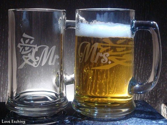 Mr. & Mrs.  Love kanji  Etched Glass Beer Mugs  Set by LoveEtching, $45.00