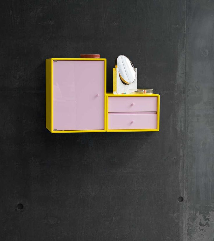 TREASURE - wall-mounted treasure chest from Montana Collection in the colour Tokyo Yellow and Candy floss