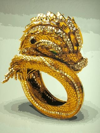 Vintage Cartier Gold & Diamond Dolphin w/Green eyes.