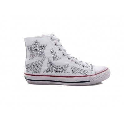 ASH - Sneakers in soft leather with studs detail star white - Elsa-boutique.it <3