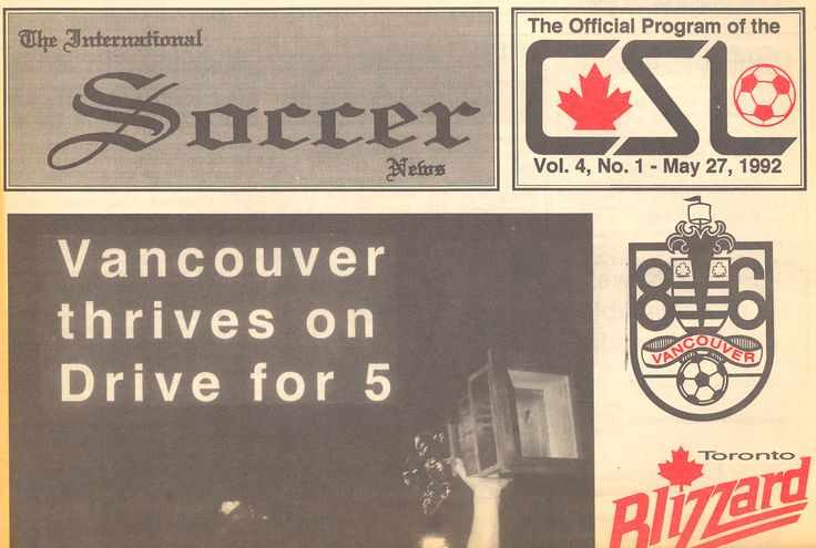 Canadian Soccer League Newspaper, top half 1992.