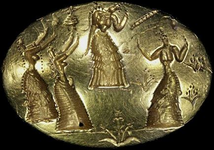 Ring of Isopata, 1400–1500 BC. This famous Minoan gold ring from the Isopata tomb, near Knossos,  depicts four dancing female figures, richly clad in characteristic Minoan attire, moving through a landscape of lilies.