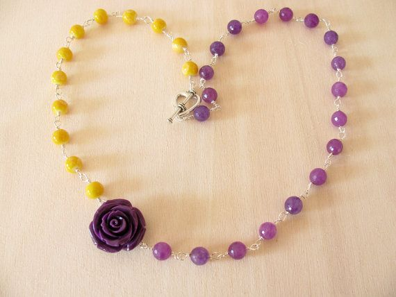 Romantic necklace Yellow and purple necklace Flower necklace Romantic jewelry Flower power