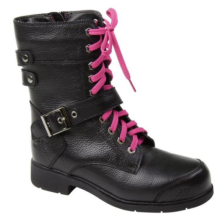 Women's Black Work Boots - Amelia 8″ Motorcycle Industrial Work Boot $229.99 Leather upper Water resistant Removable fashion strap Inside zip Aluminum toe Composite plate Rust proof hexagon gun metal eyelets PK abrasion resistant lining Removable cushioned EVA insole ANTI-SLIP and oil resistant rubber outsole CSA approved, Grade 1 Electric Shock Resistant Meets or exceeds ASTM 2413-05 requirements