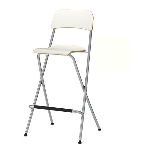 """FRANKLIN Bar stool with backrest, foldable - white/silver color, 29 1/8 """" - IKEA"""