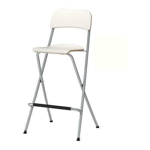 IKEA - FRANKLIN, Tabouret de bar à dossier, pliant, 74 cm, , Vous pouvez replier les chaises pour gagner de la place lorsque vous ne les utilisez pas.Confortable grâce au repose-pieds.Les pieds en plastique assurent la stabilité de la chaise et évitent les marques de pression en cas de sols souples.Le dispositif de sécurité empêche le tabouret de se replier accidentellement lorsqu'on le déplace.