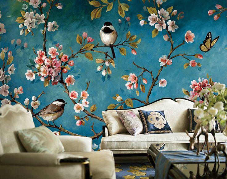 Ручная роспись маслом стиль обои Китайские цветы и птицы ретро гостиная ТВ фоне обоев купить на AliExpress