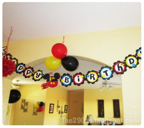 Mickey Mouse birthday banner and party ideas