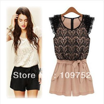 Rompers lace openwork stitching collision color ladies Siamese culottes summer women dress retail /wholesale Free shipping US $12.38 - 13.66