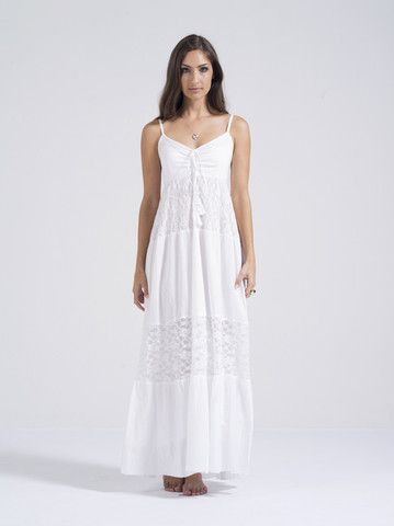 Adele Dress - Beautiful white maxi-dress with tassels and lace. 100% cotton