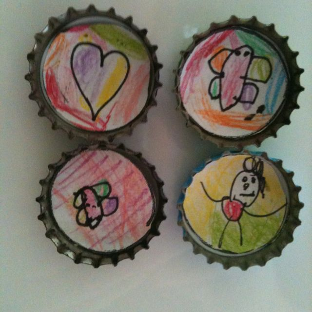 Magnets. Bottle top with drawing inside and magnet at the other side. Easy and fun to make