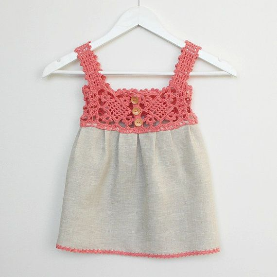 Linen Baby Dress, Crochet Peach Baby  Dress, Baby Girl Outfit, Organic, Natural Clothing, Christening Gift