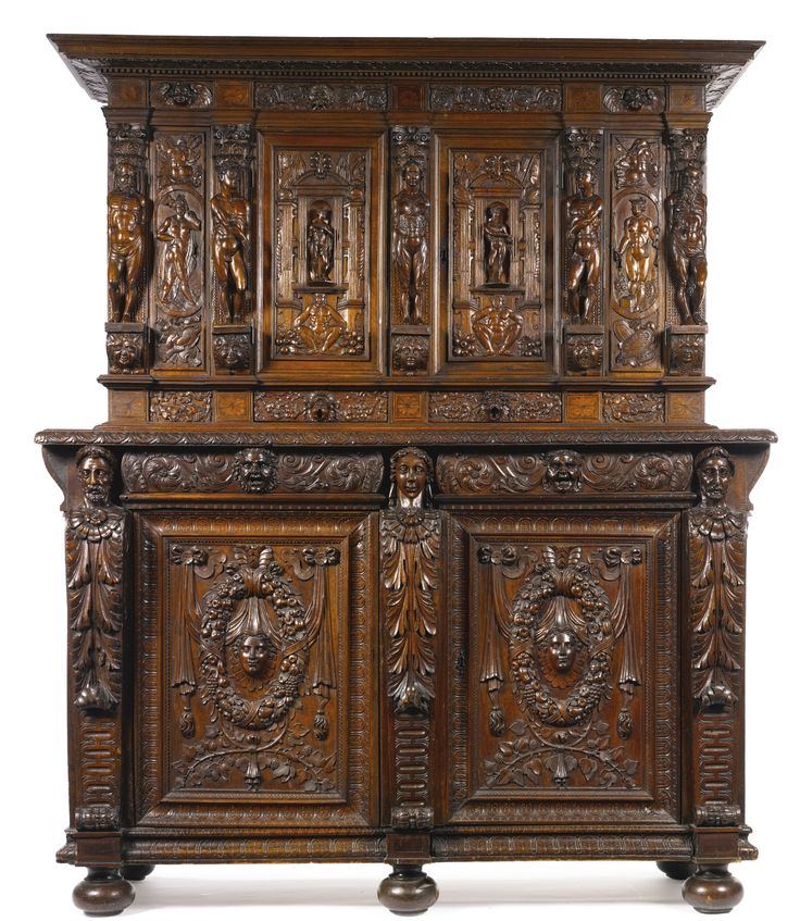 A French Renaissance carved walnut buffet à deux corps part 16th century