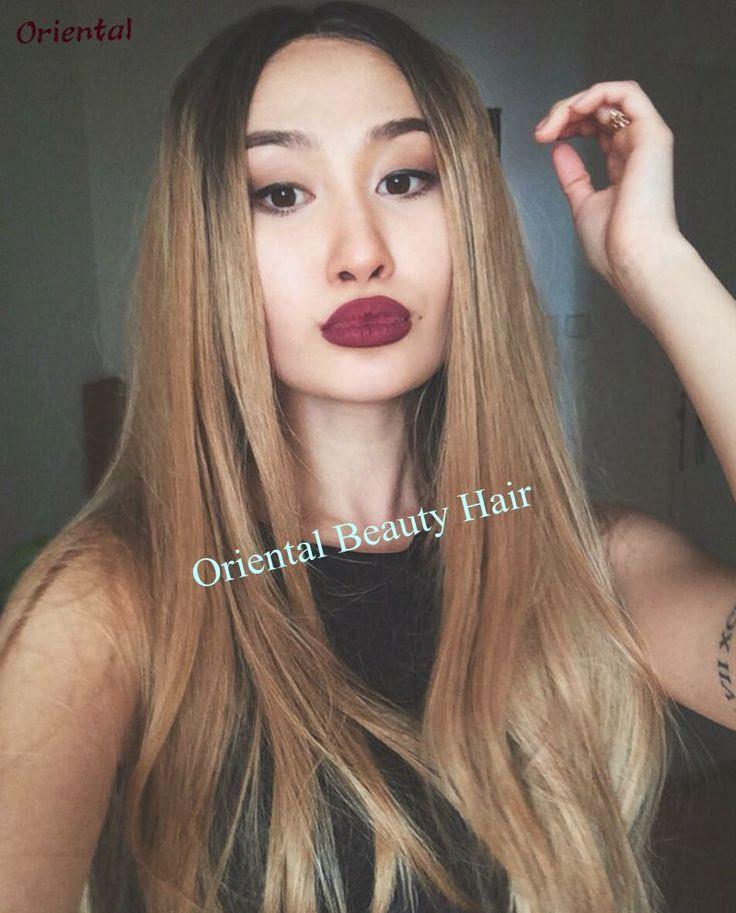 Miễn phí Vận Chuyển chịu nhiệt tóc tóc giả hai tông màu ombre glueless đen blond tự nhiên straight tổng hợp ren phía trước tóc giả